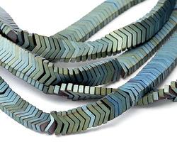 Metallic Waters Hematite (matte) Chevron 6mm