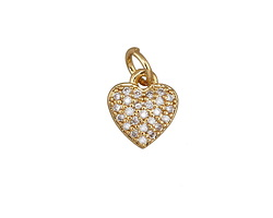 Clear Pave CZ Gold (plated) Puffed Heart Charm 8x13mm