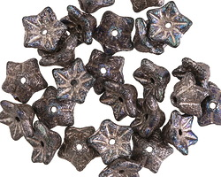 Czech Glass Textured Jet w/ Bronze 5 Point Bellflower 5x9mm
