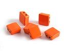 Orange Enamel 2-Hole Tile Square Bead 8mm