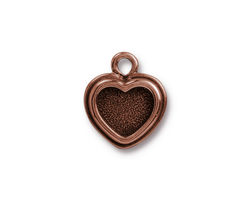 TierraCast Antique Copper (plated) Stepped Heart Bezel Charm 15x17mm