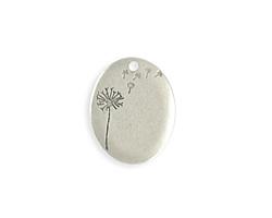 Vintaj Antique Sterling Silver (plated) Oval Dandelion Blank 20x25mm