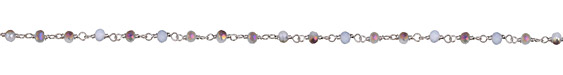 Purple Iris Luster Crystal 4mm Silver (plated) Bead Chain