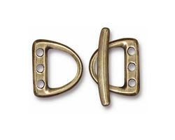 TierraCast Antique Brass (plated) 3 Hole D Ring Clasp Set 14x15mm, 21mm bar