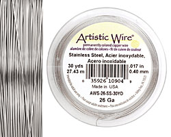 Artistic Wire Stainless Steel 26 gauge, 30 yards