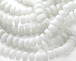 Opaque White Recycled Glass Heishi 8mm