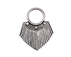 Zola Elements Antique Silver (plated) Pleated Shield w/ Crystal 27x33mm