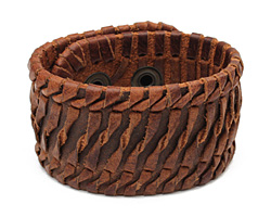 Brown Leather Twisted Stitch Cuff 1 5/8""