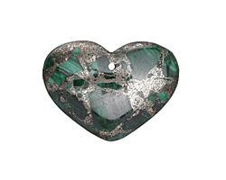 Malachite & Pyrite Heart Pendant 38x30mm