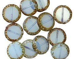 Czech Glass Seafoam Picasso Tribal Coin 12mm