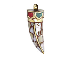 Tibetan Shell Mosaic Horn w/ Turquoise & Coral Trim Pendant 15x47-53mm