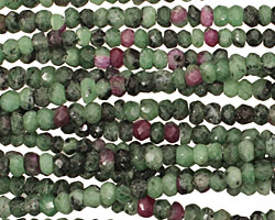Ruby Zoisite Faceted Rondelle 2x4mm
