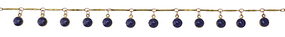 Zola Elements Brass Bar Chain w/ Cobalt Coin Charm
