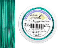 Artistic Wire Silver Plated Christmas Green 24 gauge, 15 yards