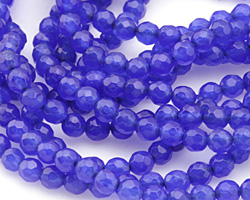 Cobalt Agate Faceted Round 4mm