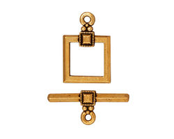 TierraCast Antique Gold (plated) Deco Square Toggle Clasp 18x12mm, 21 Bar