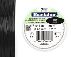 "Beadalon Black .018"" 7 Strand Wire 30ft."