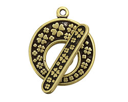 Antique Brass (plated) Clover Toggle Clasp 24x28mm, 28mm bar