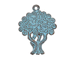 Greek Copper Patina Double Sided Tree of Life Pendant 30x40mm