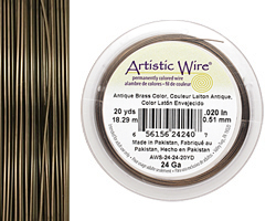 Artistic Wire Antique Brass 24 gauge, 20 yards