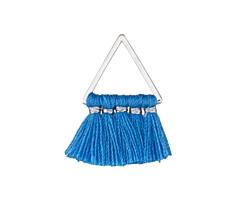 Ocean Blue Small Fanned Tassel on Triangle Ring w/ Silver Finish 15x23mm