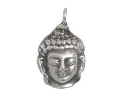 Greek Pewter Buddha Head Drop 23x36mm