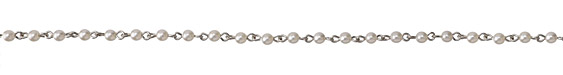 Czech Glass Pearl on Antique Silver (plated) Bead Chain