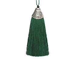Forest Green Thread Tassel w/ Antique Silver (plated) Broad Tassel Cap 20x75mm