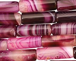 Purple Line Agate Tube 17-18x6mm
