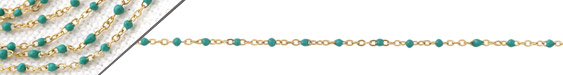 Gold (plated) Stainless Steel Turquoise Tiny Cable Chain
