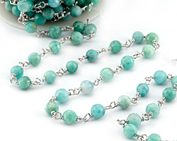 Brazil Amazonite Faceted Round 6mm Silver Finish Bead Chain