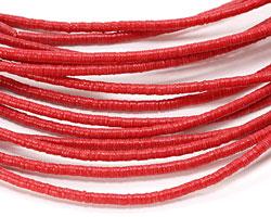 African Trade Red Vinyl/Vulcanite Heishi 3mm