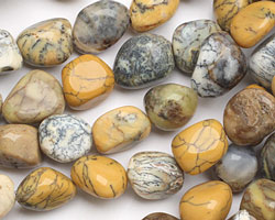 Yellow Moss Agate Tumbled Nugget 13-20x9-14mm