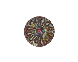 Czech Glass Matte Red Picasso Sunflower Button 19mm