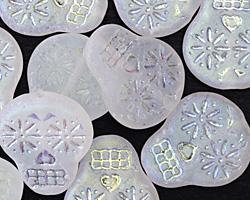 Czech Glass Matte Crystal w/ AB Finish Sugar Skull 20x17mm