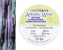 Artistic Wire MultiColor Pink/Black/Green 22 Gauge, 6 Yards