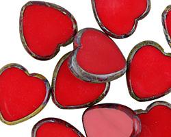 Czech Glass Cherry Picasso Heart 15mm