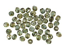 Czech Fire Polished Glass Luster Transparent Green Round 4mm
