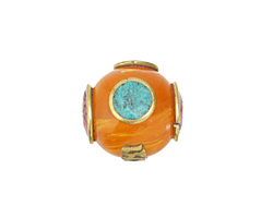 Tibetan Resin Amber & Brass Bead w/ Turquoise & Coral 16x17mm