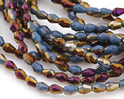 Pacific Blue w/ Metallic Raspberry Gold Luster Crystal Faceted Teardrop 5x3mm