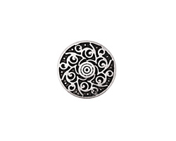 Zola Elements Antique Silver (plated) Twirling Disc 7mm Flat Cord Slide 18mm