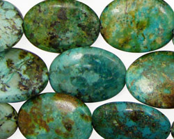 African Turquoise Flat Oval 20x15mm