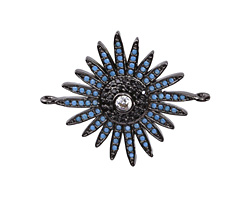 Storm Mix Pave CZ Gunmetal (plated) Starburst Focal Link 30x26mm
