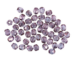 Czech Fire Polished Glass Luster Transparent Amethyst Round 3mm