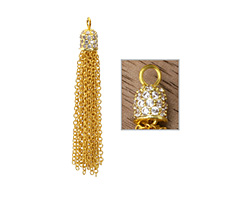 Gold (plated) Crystal Encrusted Simple Chain Tassel 6x55mm