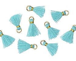 Aqua w/ Gold Binding & Jump Ring Tiny Thread Tassel 12mm