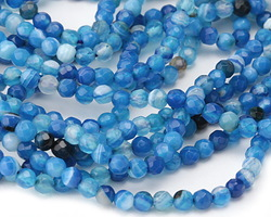 Sky Blue Line Agate Faceted Round 4-4.5mm