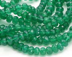 Green Onyx (variegated) Faceted Rondelle 3-5x5-7mm