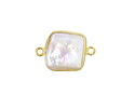 Freshwater Pearl Square Link in Gold Vermeil 19-20x10-12mm