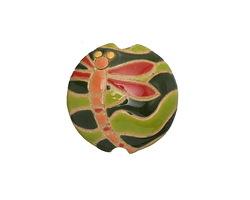 Golem Studio Red Dragonfly Carved Ceramic Lentil 23mm
